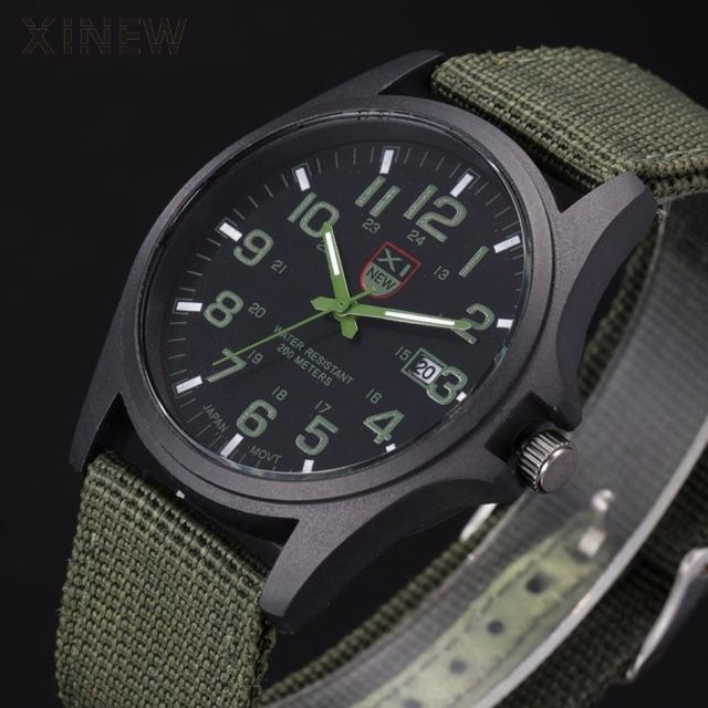2018 New Famous XINEW Brand Men Date Quartz Watch Army Soldier Military Canvas Strap Analog Watches Sports Clock Wristwatches
