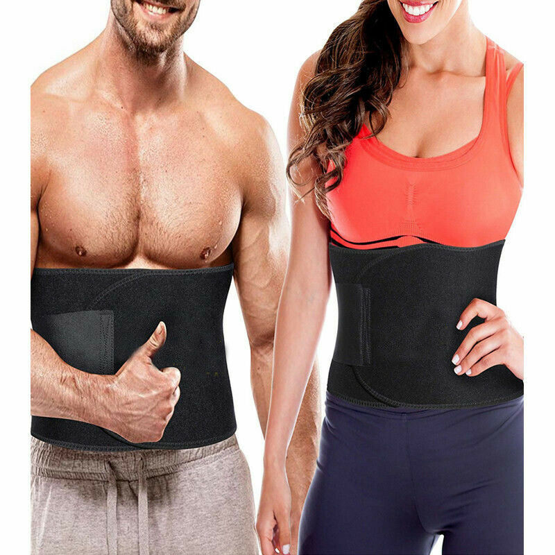 Unisex Waist Tummy Trimmer Sweat Band Body Shaper Belt Wrap Fat Burn Exercise