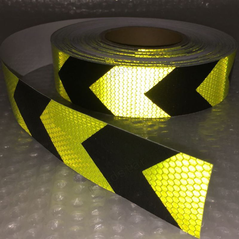 Купить с кэшбэком 5CM x 25M Fluorescent yellow arrow PET Reflective Tape Reflective Safety Warning Tape for car
