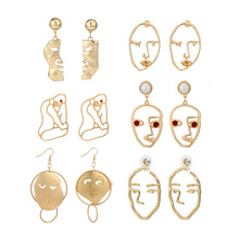Face shape Sculpture Drop Earrings hyperbole personality funny abstract face earrings imitation pearl hollowed-out earrings