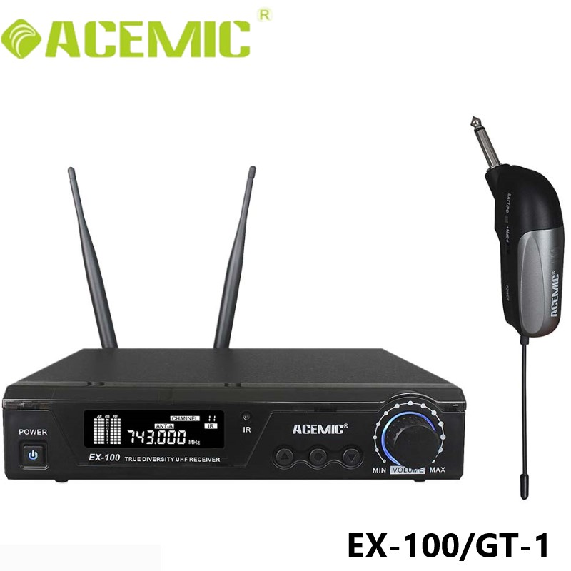 ACEMIC EX 100 GT 1 Pro UHF 100m Wireless Electric Guitar Microphone Bass Keyboard Drums Violin