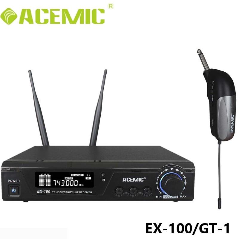 Acémique EX 100/GT 1 Pro UHF 100 m sans fil guitare électrique Microphone basse clavier batterie violon 6.35mm Jack Instrument électrique-in Microphones from Electronique    1