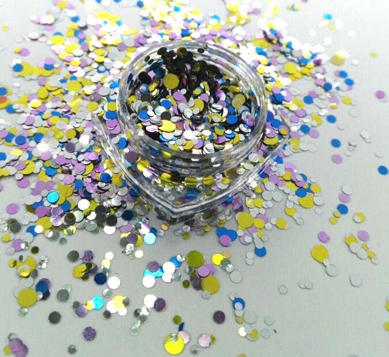 17 Usd/100g Nagel Glitter Punkte Poker Rosa 1/2/3mm Ultra Metallic Glitter Mix Punkte Kreise Für Gel Nail Art & Acryl # Plt-03 #002 Schönheit & Gesundheit