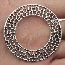 WYSIWYG 4pcs 49x49mm Charms Wreath Big Round Circle Pendants Alloy DIY Jewelry Making Accessories