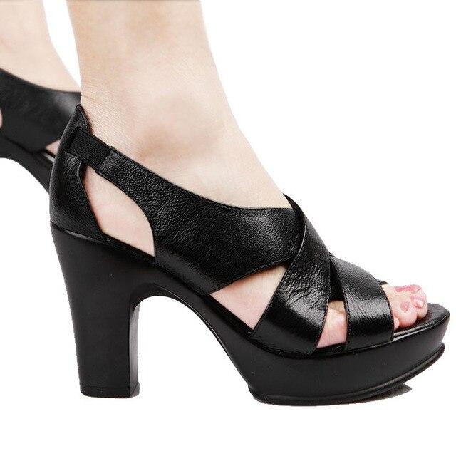 Femmes Véritable En Épais Sandales Plateforme Talons Hauts Cuir MSzVqGUp