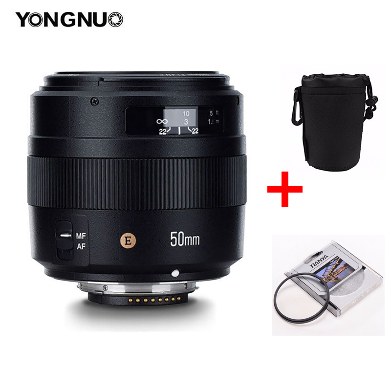 YONGNUO YN35mm 50mm 100mm AF MF Prime Lente fija para cámara Nikon Canon