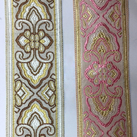 Brown And Pink Embroidery Tape For Bed Cover Rim Pillow Rim Quilt For Cover Edge For