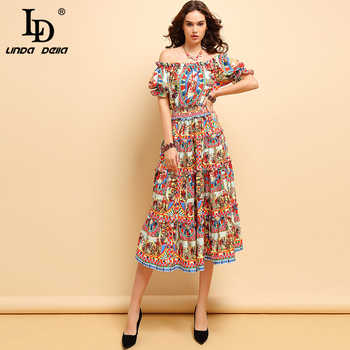 LD LINDA DELLA Fashion Spring Summer Dress Women's Off shoulder Draped Character Printed Elegant Vintage Elastic Waist Dresses - DISCOUNT ITEM  20% OFF All Category