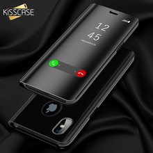 KISSCASE Mirror Flip Case For iPhone 8 7 6 6s Plus X XS Max XR Smart Window View Phone Cases For iPhone 7 8 6 6s Plus X XR Cover(China)
