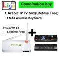 Árabe Caixa de IPTV Android sem necessidade de qualquer taxa de inscrição para sempre livre Caixa De TV 500 + Europa Francês Árabe canais de esportes + MX3 Keyboardm