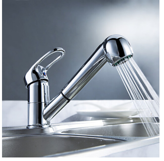 Chrome Brass Pull Out Kitchen Faucet Vessel Sink Mixer Tap Single Handle Hole Mixer Tap new led pull out kitchen vessel sink faucet tap mixer