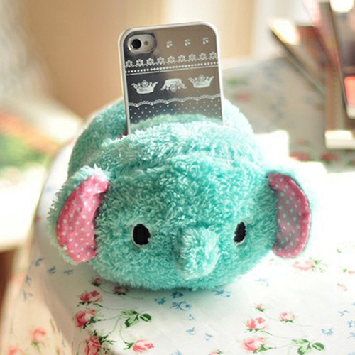 Cute Elephant Plush Phone Holder Cell Phone Seat Toys Desk Display