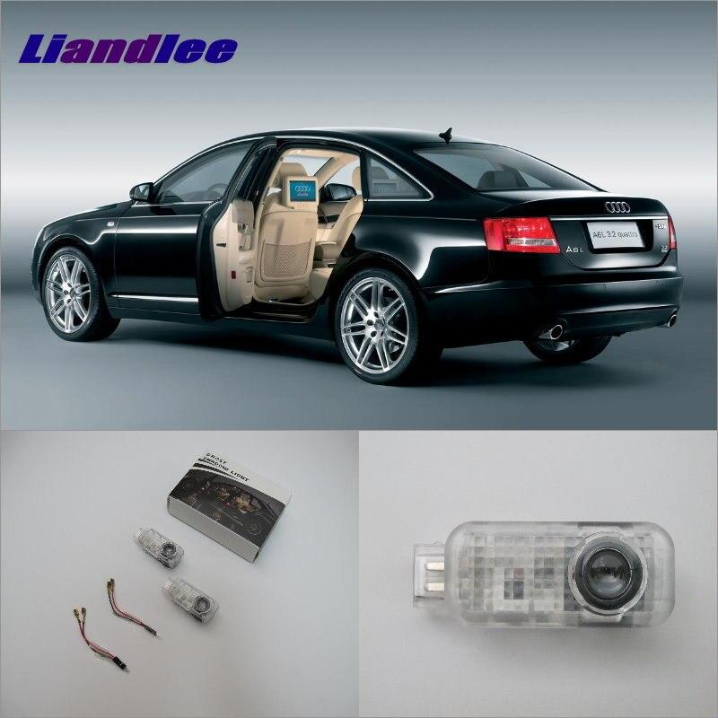 Liandlee Porta de Carro Bem-vindo Luz Sombra LEVOU A Laser Para Audi A6L (2.0) 2012 ~ 2014 Luzes de Cortesia das Portas acessórios Peças