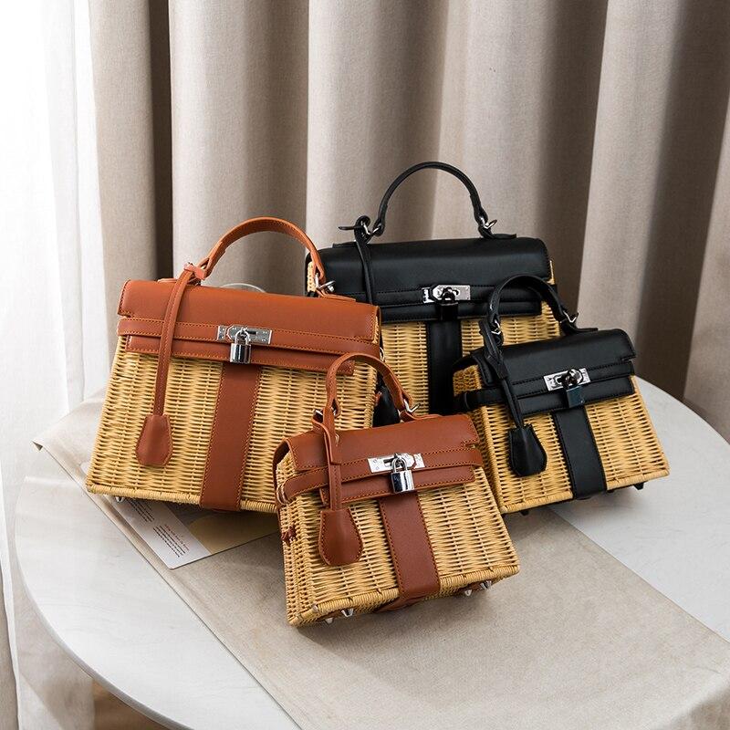 2019 New Luxury Fashion Famous Design Rattan Straw Bag Women Purse and Handbags Beach Bags Shoulder