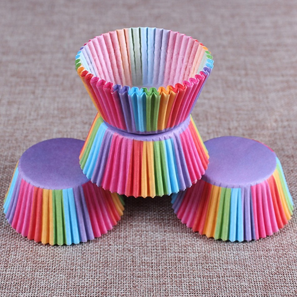 AIHOME 100 Pcs/Set <font><b>Paper</b></font> <font><b>Cake</b></font> Cups <font><b>Rainbow</b></font> <font><b>Color</b></font> <font><b>Cupcake</b></font> <font><b>Liner</b></font> <font><b>Baking</b></font> <font><b>Cupcakes</b></font> Muffin Cases <font><b>Cake</b></font> Box Cup Tray <font><b>Cake</b></font> Molds