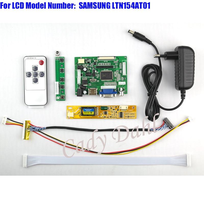 HDMI VGA 2AV Controller Board Backlight Inverter 30P Lvds Cable Remote for LTN154AT01 1280x800 1ch 6bit