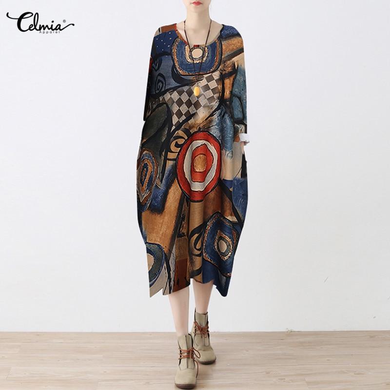 Plus Size S-5XL Celmia African Clothes Dashiki Dress for Women Casual Summer Print Dashiki Fabric Femme Boho Robe Femme