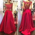 Moda Largo Dos 2 Unidades Red Vestidos de Baile Vestido de 2016 Vestido de Fiesta de Graduación Del Vestido de Noche Formal Más tamaño