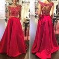 Moda Longo de Dois 2 Peças Vermelho do baile de Finalistas Vestidos Vestido 2016 de Noite Formal Da Festa de Formatura Vestido Vestido Plus Size