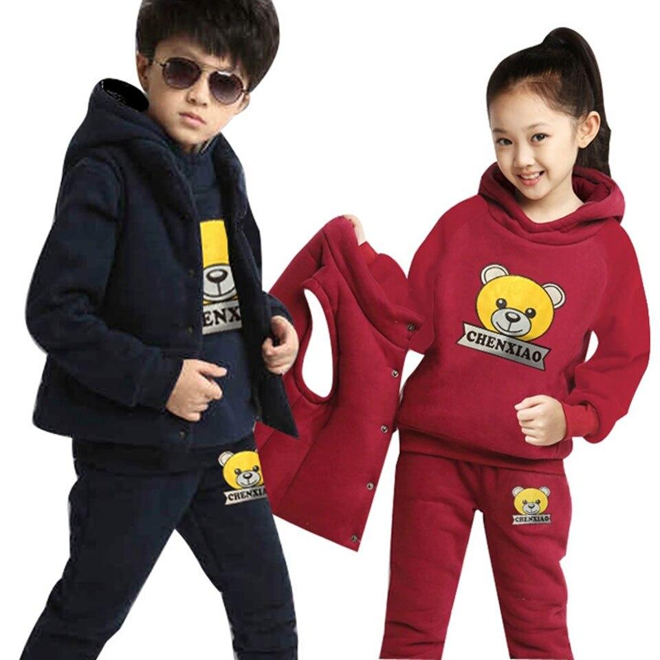 2019 Leeftijd 4-12 Jaar Baby Jongens Meisjes Kleding Set Herfst Winter Baby Jongens Kleding 2 Kleuren Tops Jassen Vest Broek 3 Stks Outfits Set