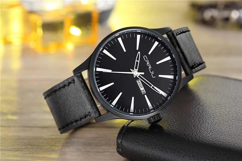 CRRJU Mens שעונים צבאיים ספורט עמיד למים שעון יד תאריך שבוע גברים של שעון רבותיי בראון עור קוורץ שעון גברים שעון reloj