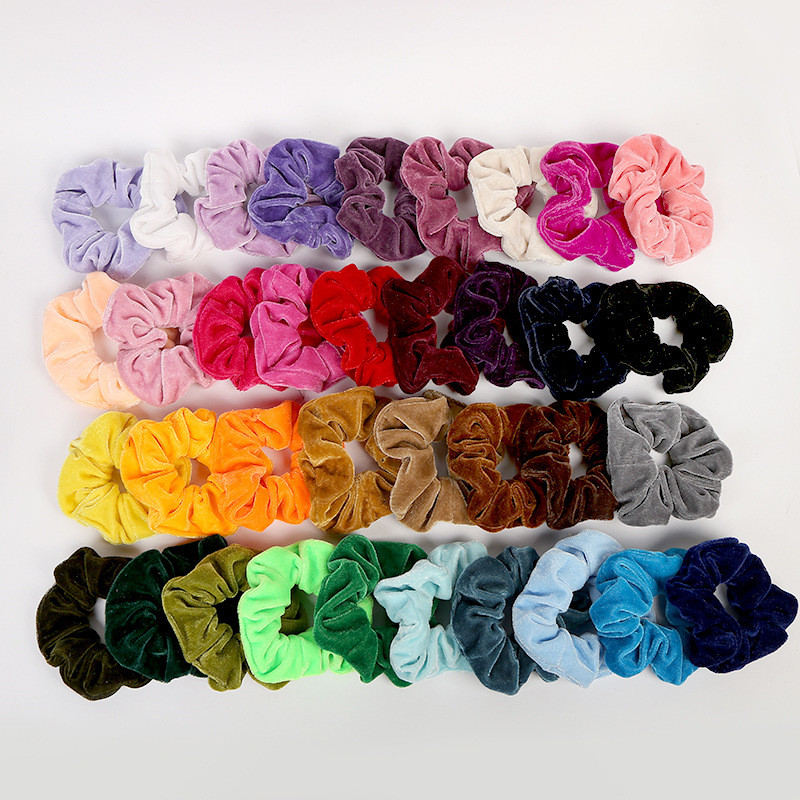 Free Shipping Fashion Women Colorful Candy Velvet Hair Scrunchies Cute Hair Bands Girl's Hair Tie Accessories Ponytail Holder