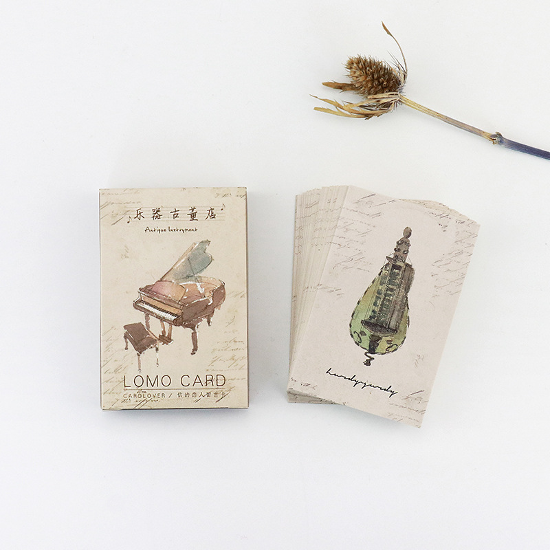 28 pcs/pack Musical Instrument Antique Shop Mini Lomo Greeting Card Postcard Birthday Letter Envelope Gift Card Set Message Card 30 pcs pack creative cup of coffee shape coffee diary postcard diy envelope gift birthday card mini message card paper bookmark