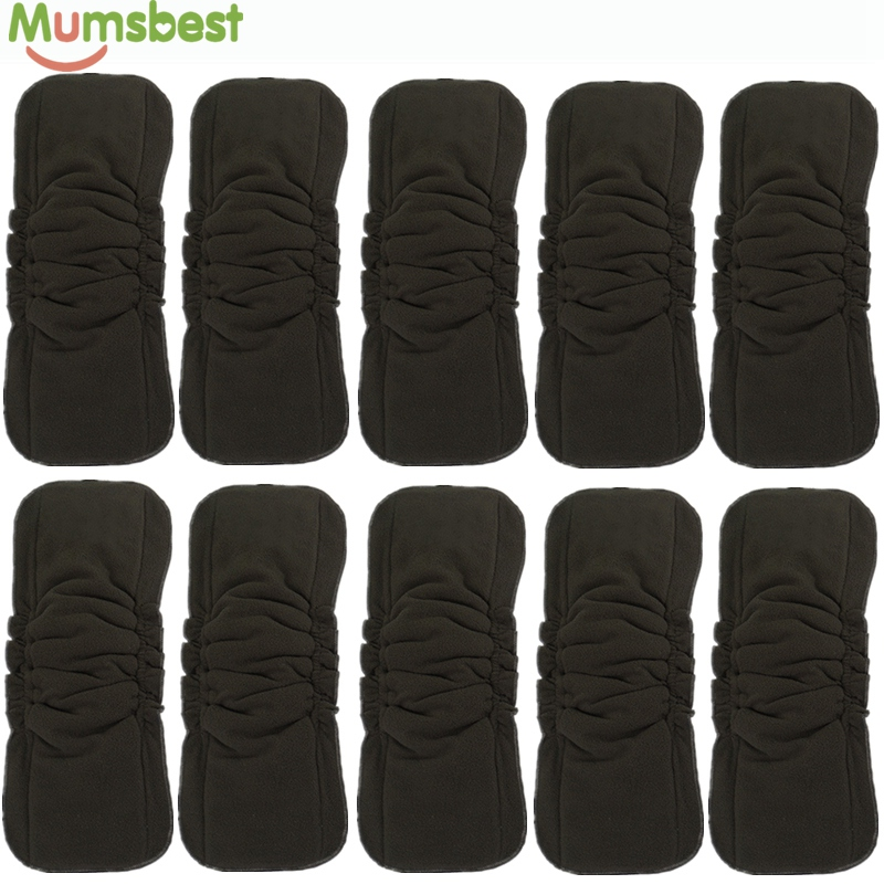 [Mumsbest] 10Pcs Wholesale Baby Cloth Diaper Inserts Double Gussets No Leaking Charcoal Bamboo Changing Liners Diapers Insert