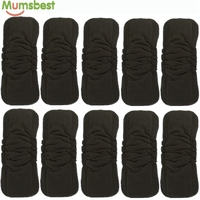 Mumsbest 10Pcs Wholesale Baby Cloth Diaper Inserts Double Gussets No Leaking Charcoal Bamboo Changing Liners