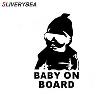 SLIVERYSEA BABY ON BOARD Cool Rear Reflective Sunglasses Child Car Stickers Warning Decals Black/Silver