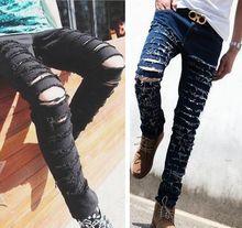 2015 новый Стильный Марка рваные джинсы мужские летние новый стиль жан брюки тонкие узкие брюки проблемные калько джинсы 27-36