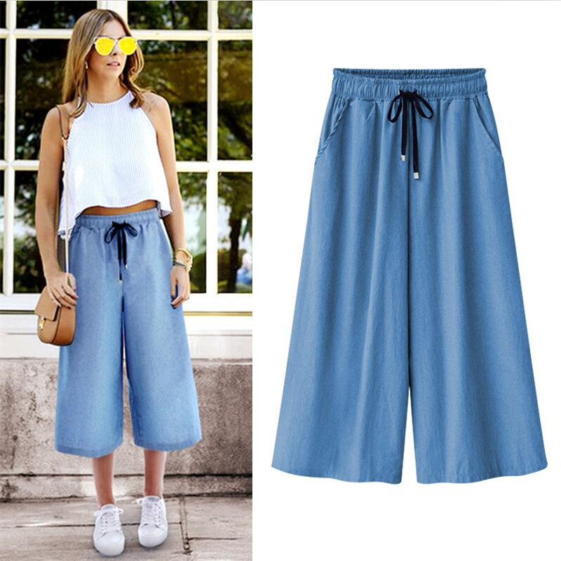 Jeans Denims New 2020 Blue ELastic Waist Wide Leg Pants Large Size 5XL 6XL 7XL Loose Pants Summer Cool Cropped Trousers Women
