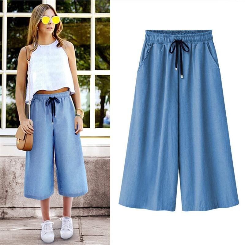 Jeans Denims New 2020 Blue ELastic Waist Wide Leg Pants Large Size 5XL 6XL 7XL Loose Pants Summer Cool Cropped Trousers Women