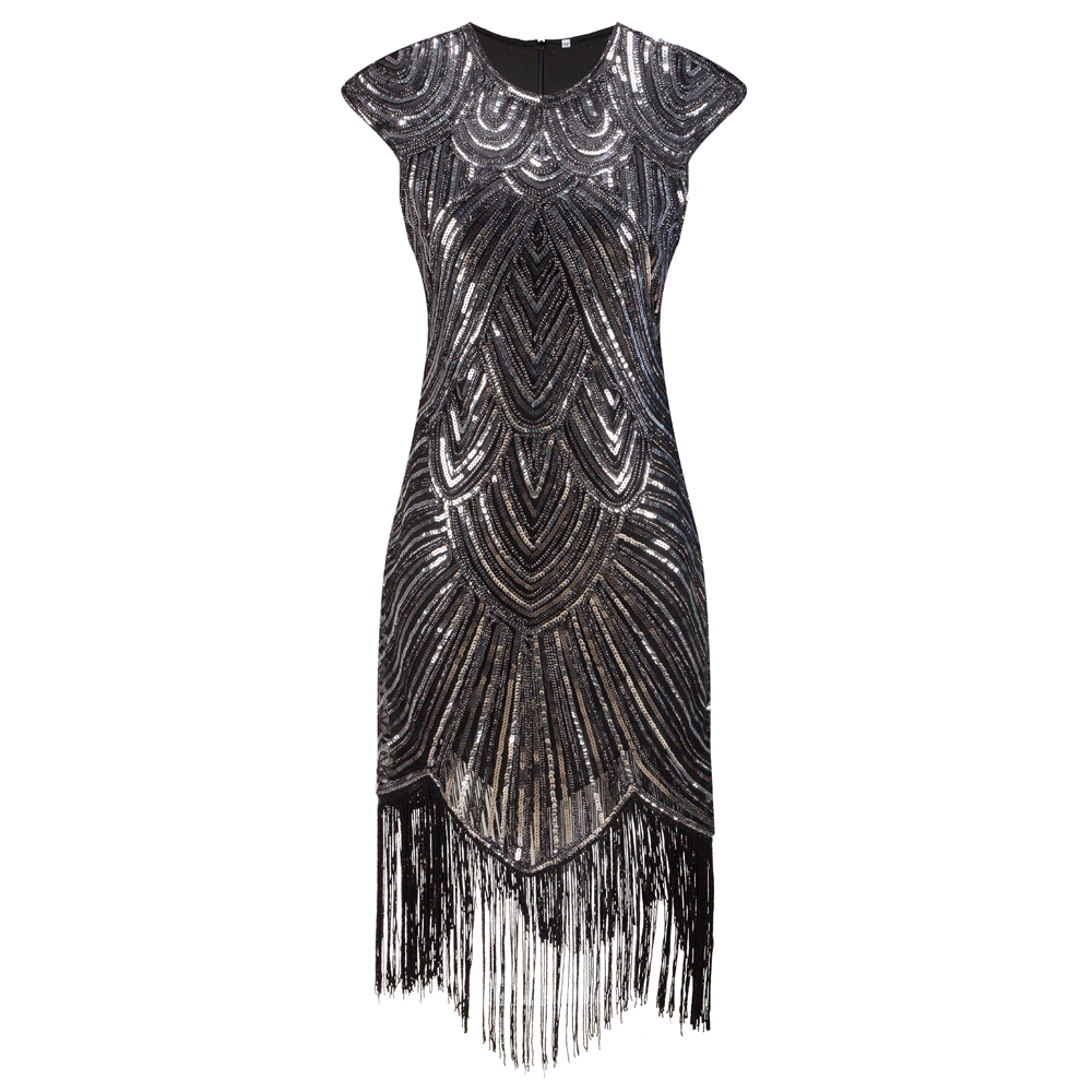 Vintage 1920s Fler Great Gatsby Dress O Neck Cap Sleeve Sequin