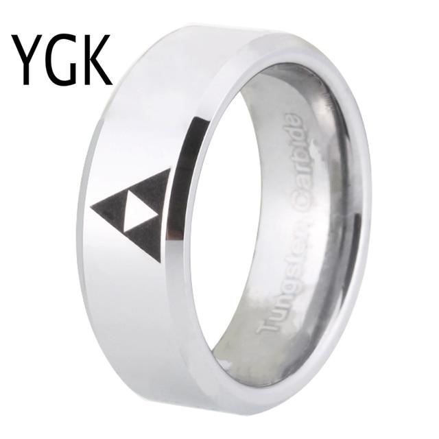 YGK BRAND JEWELRY Hot Sales 8MM Shiny Silver Bevel LEGEND Of ZELDA