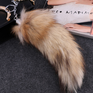 Fashion Lovely Fox Tail Keychain Faux Fur Keychain Hot Large Wolf Tail Fur Tassel Bag Tag Black And Brown Keychain Gift(China)