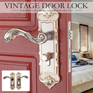 1 Juego de cerradura de puerta estilo europeo Vintage cerradura de manija de Puerta del dormitorio Retro cerradura de puerta de seguridad de habitación antirrobo Interior