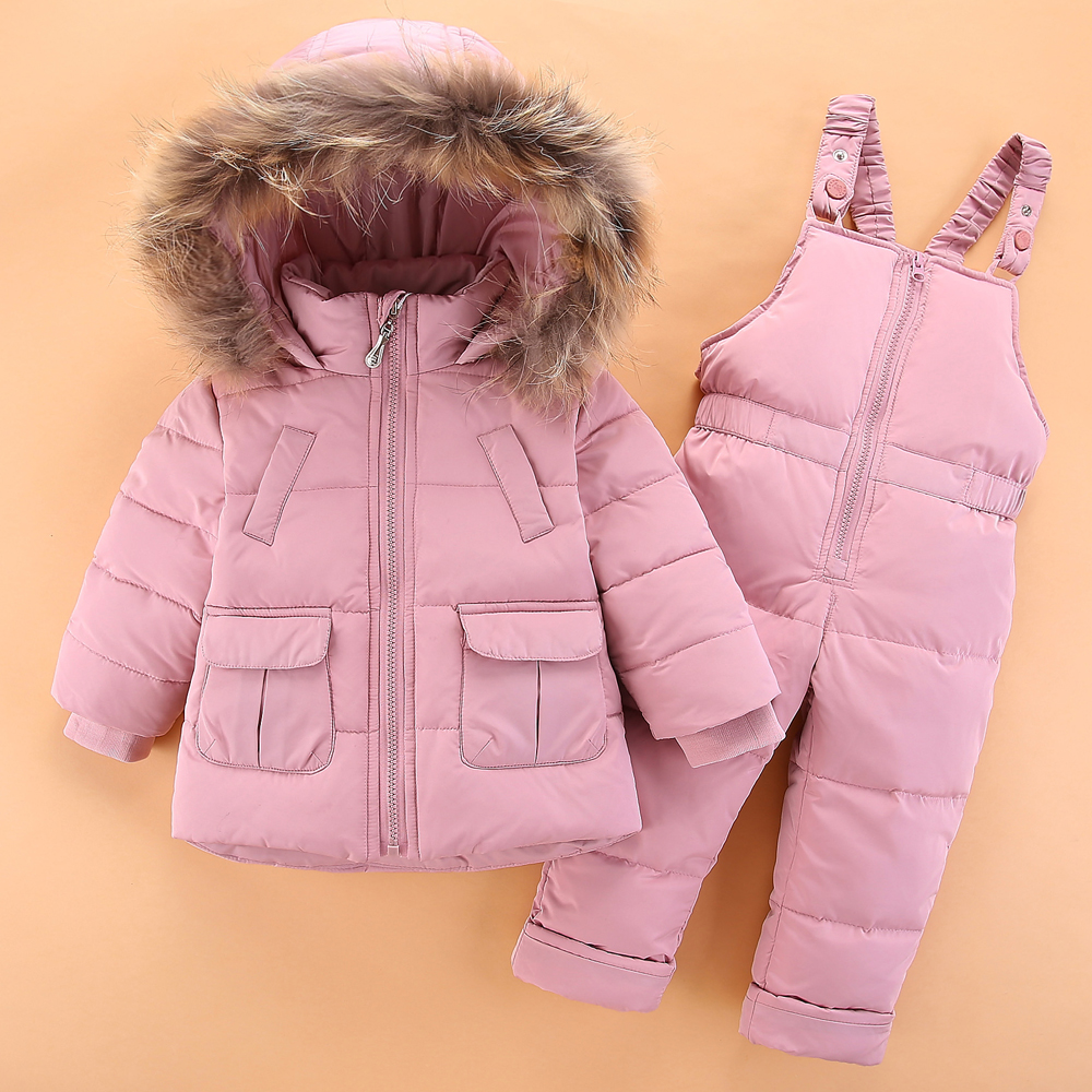 Children 2 4Y Winter White Duck Down Clothing Sets 2018 Baby Girl Overalls Ski Snow Suit for Boys Kids Nature Fur Jacket+ Pants