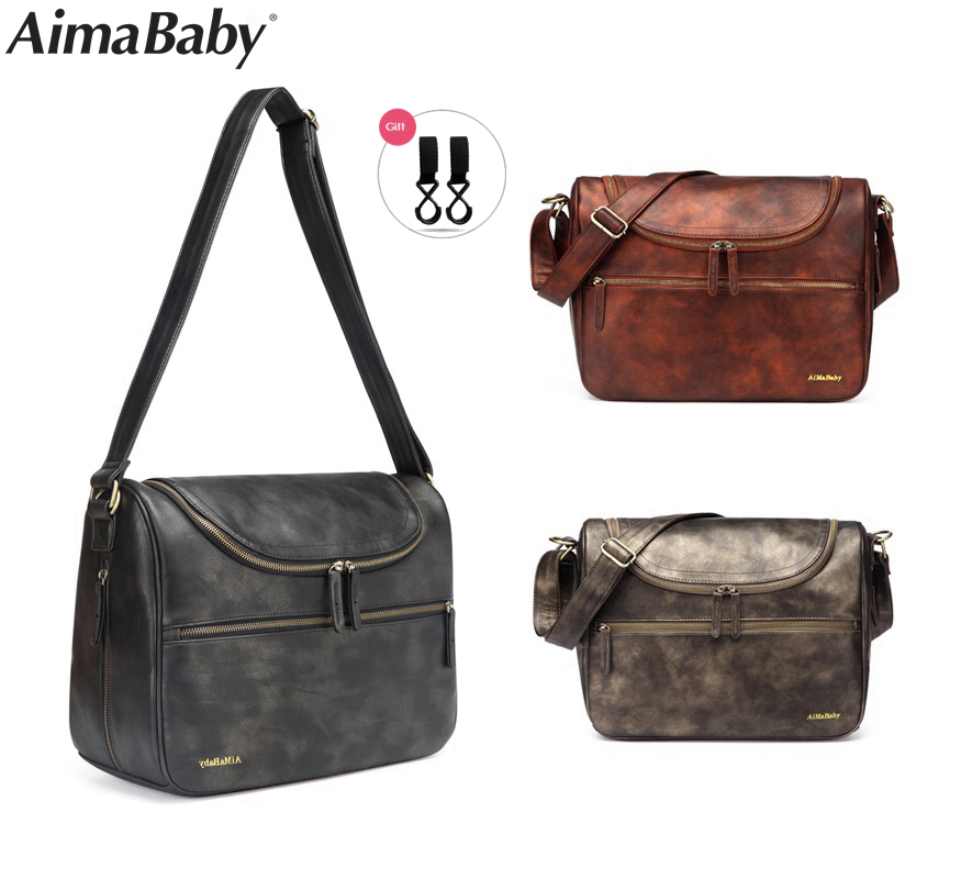 AIMABABY PU Leather baby travel mom mummy daddy Maternity nappy diaper bag messenger Bags Organizer hobos bolsa maternidad pu leather baby travel mummy maternity changing nappy diaper tote bag backpack baby orgenizer bags bolsa maternidad