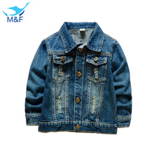 M&F 2016 High Quality Baby Boys Kids Fashion Outerwear & Coat Cotton V-neck Casual Boys Denim Clothes For Children Boys