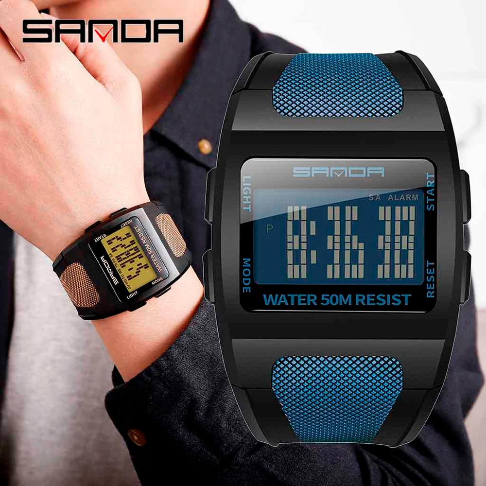 Sanda Watch Men LED Cool Fashion Multi Function Wide Dial Monochrome Digital Electronic Waterproof Watch  relogio digital #UQQ(China)