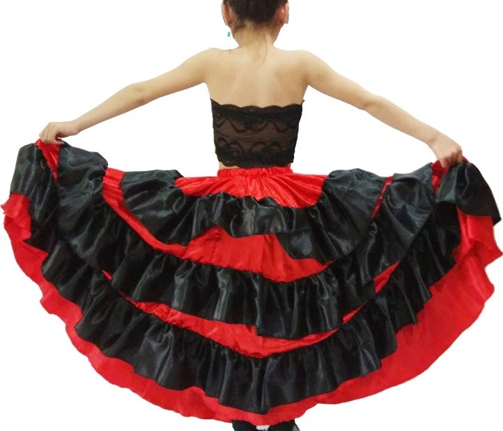spanish dance girl costume dress red black dance skirt for children shawl dancing dresses for girls bellydance skirt flamenco