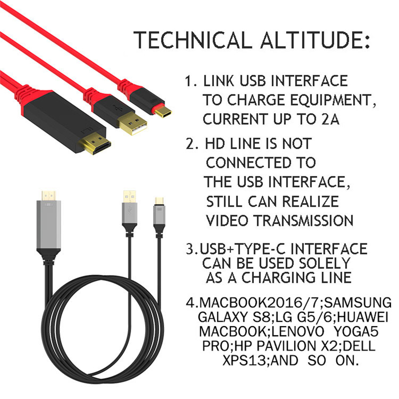 High Speed USB 3.1 Type C To HDMI HD Cable With USB Independent Supply Support 4K Adapter Cable