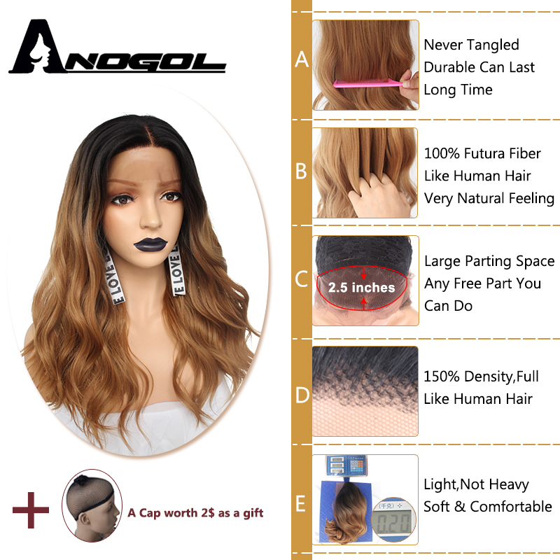 Anogol Futura Peruca 360 Frontal Wigs Black Ombre Brown Long Body Wave Synthetic Lace Front Wig For American Women-in Synthetic None-Lace  Wigs from Hair Extensions & Wigs    2
