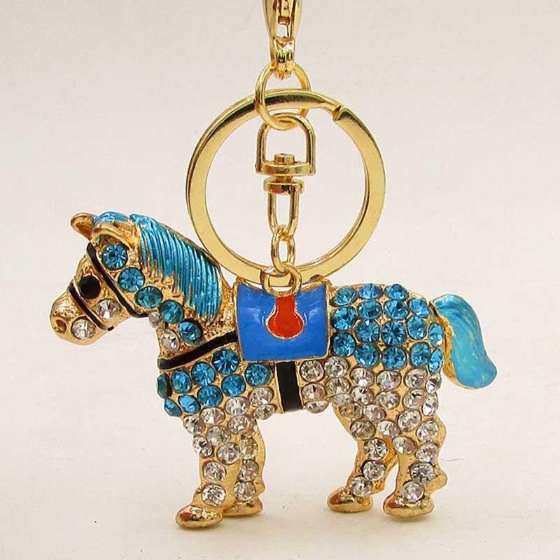 1pc Vintage Rhinestone Pendant Key Ring Shellhard Cute Crystal Horse Keyring Keychain For Women Men Jewellery Accessory Gift