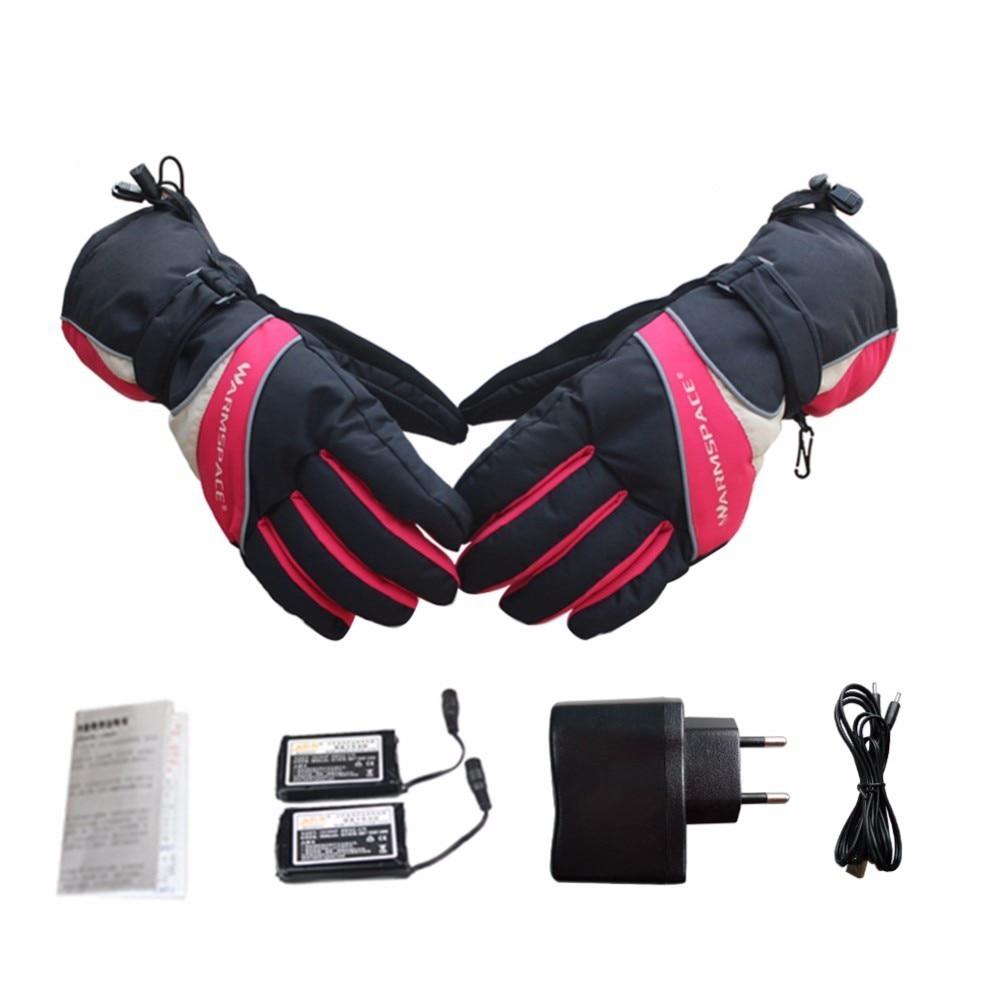 Usb chauffé hiver Ski Snowboard gants imperméable motoneige moto gants neige Sport Handwear thermique Ski gants