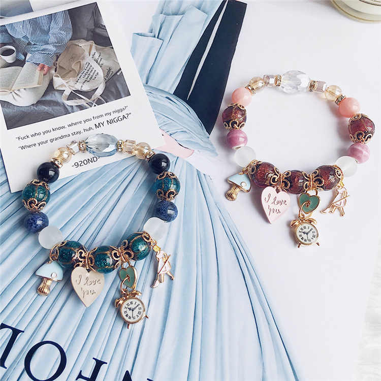 Vintage Boho Jewelry Natural Stone Crystal Clock Love Letter Lock Pendant String Bracelet Bracelets & Bangles for Women