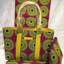 Ningerian Fashion Ladies Casual Tote Handbag And Wax Fabric Set Africa PU Leather Wax Bag And