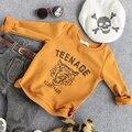 2-7Y осень зима мальчики комикс тигр флис футболки мальчики осень одежда дети свитер
