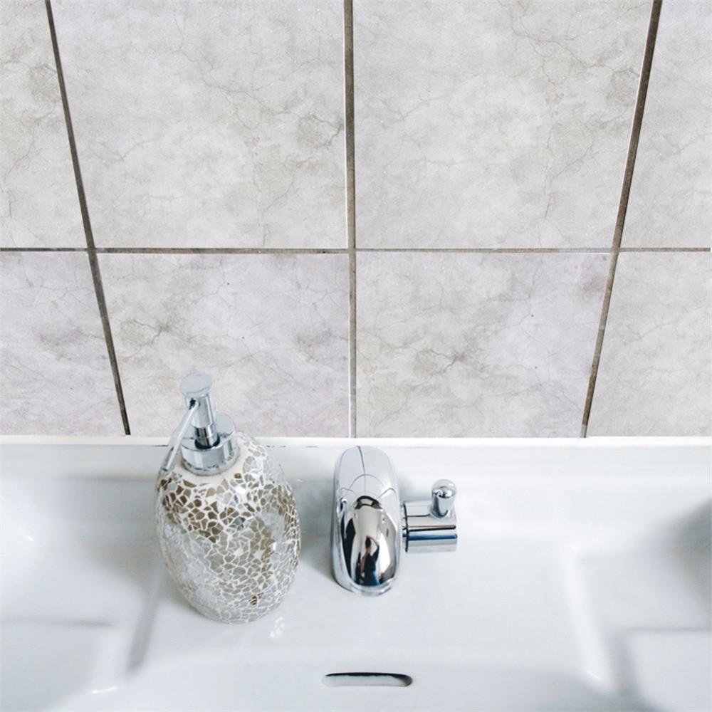 Yanqiao Gray Grunge Tiles Sticker Bathroom Kitchen DIY Home ...